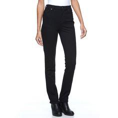 Petite Gloria Vanderbilt Amanda Slimming Tapered Ponte Pants, Women's, Size: 8P - Short, Black