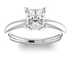1.30ct (6.0mm) Princess 14K White Gold Solitaire Engagement Ring
