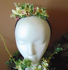 Yellow Orchid Headband One of a kind Handmade Unique