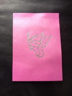 Pink card with silver butterfly