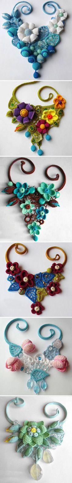 Russian artist Tatiana Potemkina makes wonderful crochet jewelry pieces