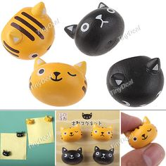 4 x Plastic Mini Ultra Strong Cute Refrigerator Magnet Series Note Memo Paper Photo Sticker - Cat Design HLI-73067