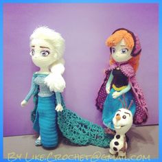 Elsa, Anna, Olaf meet at North Mountain, Frozen Disney amigurumi crocheted dolls pattern
