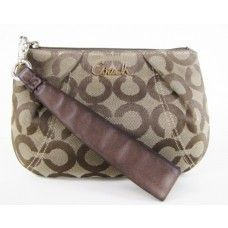 Coach Khaki and Brown Signature Wristlet