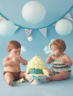 How cute is this for twins first bday!?