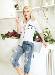 I always feel closest to my father when I am in the kitchen, says Paltrow, whose cookbook, My Fathers Daughter, will be published next spring by Grand Central Publishing. Pink Tartan pale-blue cotton shirt with navy piping. American Eagle Outfitters jeans.