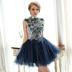 regreso a casa vestido de cóctel - tinta azul una línea de alta cuello corto / mini encajes / tul – EUR € 63.69