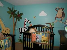 Whimsical jungle animals painted in nursery for twin boys, by Debbie Cerone