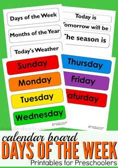 Add the days of the week to your preschool calendar board with this fun and free printable!