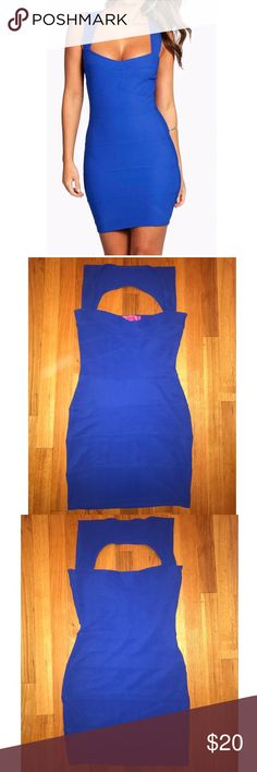 NWOT Boohoo cobalt blue bandage dress NWOT Boohoo cobalt blue bandage dress. Never worn before! Size 8, fits true to size. Partial open back detail.   Also see my other listings for this dress in blush pink and lavender!  Make an offer! No trades. Bundle to save! Boohoo Dresses Mini