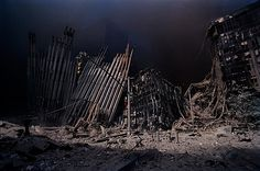 911 World Trade Center Terrorism New  York Disaster: Devastated Landscape--The Skeleton of the building collapses in on itself