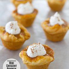 So cute: mini crescent pumpkin pies.  -- (1 c evaporated milk = 3/4 c milk + 3 T butter.)