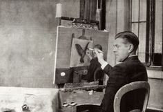 René Magritte paints 'La Clarivoyance' 1936  Photo by Jacqueline Nonkels