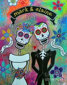 SEND ME A MESSAGE IF YOU WISH TO ORDER A CUSTOM PAINTING, mark & elaine dr mark mark elaine dia de los muertos day of the dead anniversary special order prisarts pristine cartera turkus lovers couple anniversary wedding matrimonio day of the dead flowers florals blooms banner especial folk art outsider cool gift present gift
