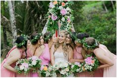 FUN!! Bridal bouquet,bridesmaids bouquets, tee pee and floral, girls laurel flower crowns,Amber Rose + Shane  Piha Wedding Floral Stylist