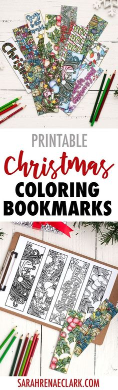 These coloring bookmarks are a great DIY Christmas gift idea for teachers or friends! 12 Christmas bookmarks included. Find more Christmas printables at www.sarahrenaeclark.com/christmas #christmascraft #bookmarks #printables