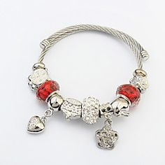 Da donna Bracciali con ciondoli Acciaio Di tendenza A forma di cuore Argento Gioielli 1 pezzo