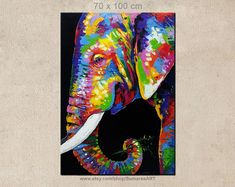 70 x 100 cm, bunten Elefanten Malerei-Elefant-Wand-Dekor