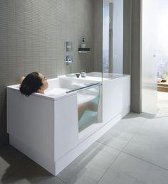 The Duravit Shower + Bath unites modern bathroom design and optimum use of space. The Duravit Show Walk In Tub Shower, Bathtub Shower Combo, Bathroom Tub Shower, Bath Tub, Walk In Tubs Bathtub, Deep Bathtub, Ikea Bathroom, Bathroom Faucets, Modern Bathtub