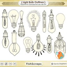 Light Bulb ClipArt String Light Clip Art Photoshop by FishScraps