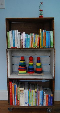 Silly Eagle Books: fruit crate bookshelves for kid's room Old Crates, Wooden Crates, Wooden Diy, Vintage Crates, Crate Nightstand, Crate Furniture, Nightstands, Crate Bookcase, Crate Shelving