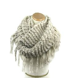 Knit Infinity Scarf, Knit Cowl, Bulky Infinity Scarf, Gift For Her, Fashion Accessory, Hand Knit Scarf, Circle Scarf, Women, Beige Scarf - pinned by pin4etsy.com