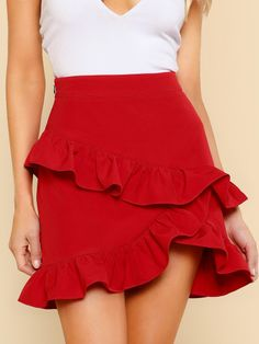 Elegant Plain Sheath High Waist Red Above Knee/Short Length Asymmetric Layered Ruffle Skirt Source by daydaychic Skirts Red Skirts, Short Skirts, Skirt Fashion, Fashion Outfits, Fashion News, Womens Fashion, Asymmetrical Skirt, Ruffle Skirt, Frilly Skirt