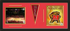 Two framed 8 x 10 inch University of Maryland photos of University Of Maryland  Logo with a University of Maryland mini pennant, double matted in team colors to 30 x 12 inches.  The lines show the bottom mat color.  (Pennant design subject to change)  $99.99 @ ArtandMore.com