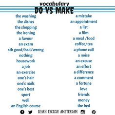 English vocabulary, make, do, ielts, tips, tesol, esl, tefl