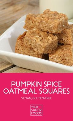 Looking for a healthy, yet easy and quick delicious treat recipe. These vegan and gluten-free pumpkin spice oatmeal quares are the perfect choice!