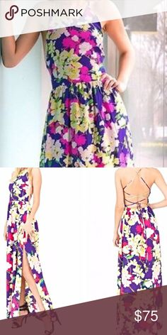 Amazing floral dress with amazing back detail Cross crossed back detail split on the side of the leg amazing for weddings or just a summer day!! Never worn Yumi Kim Dresses Maxi