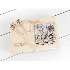 Βιβλίο Ευχών για κορίτσι  με Vintage ξύλινο καδράκι με ποδήλατο καθώς και floral φιόγκο. Notebook, Rings, Vintage, Ring, Jewelry Rings, Vintage Comics, The Notebook, Exercise Book, Notebooks