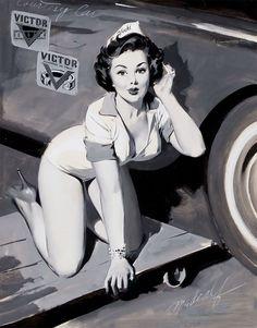 1940's pin up girl car mechanic wearing heels - back & white painting