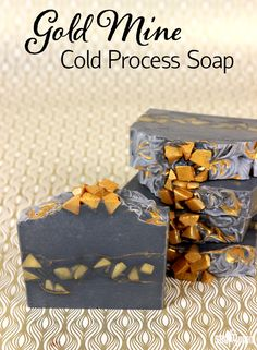 This Gold Mine Cold Process Soap is made with activated charcoal and gold mica to create stunning contrast. Learn how to make it in this blog post!