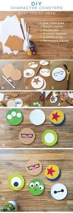 DIY: Minimalist Disney and Disney Pixar character coasters | Monsters Inc. + UP + Big Hero 6 + Toy Story decor | [ https://style.disney.com/living/2016/07/01/diy-minimalist-character-coasters/ ] (Diy Ornaments Disney)