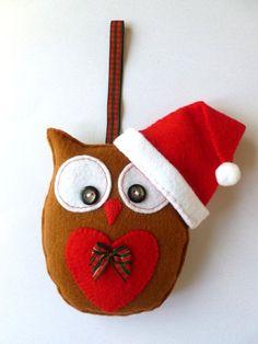 Christmas Felt Owl Hanging Decoration by SewJuneJones on Etsy, £10.00