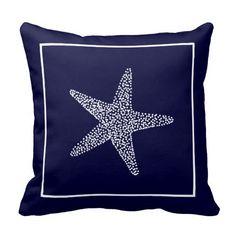 Nautical Blue Starfish Throw Pillow #beautiful #blue #pillows #zazzle #starfish
