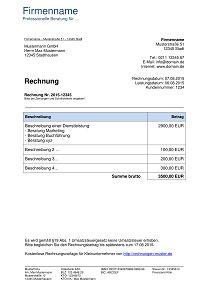 Musterrechnung Kleinunternehmer 3 Rechnung Vorlage Rechnungsvorlage Rechnung