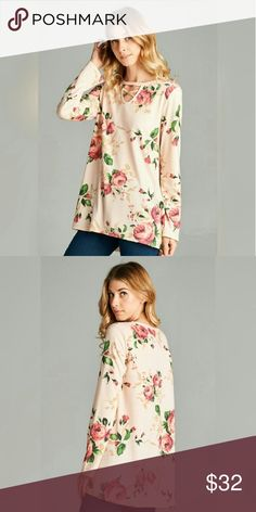 COMING SOON! Floral Print French Terry Top Floral printed french terry long sleeve hi-low top with criss cross detail - made in USA Tops Blouses