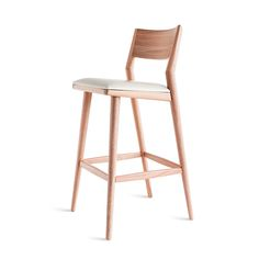 "Modern stool by Aristeu Pires crafted with solid wood features. Available  in Counter Stool and Barstool heights.  counter stool   34.1"" H  17"" W  20.9"" D                          barstool    40.2"" H  17"" W  21.7"" D"