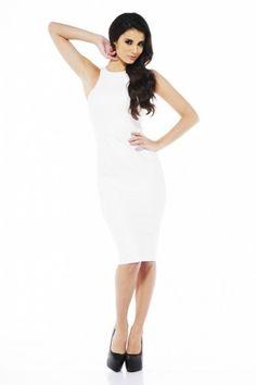 Cut In Neck Midi White Dress - AX Paris USA-Fashion Dresses, Black Dresses, Evening Dresses and Party Dresses