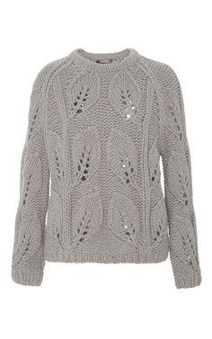 **Lela Rose** pullover Вязаный свитер листьями, очень коасивый, жаль, не описания вязания и схемы