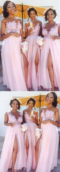 A-Line Pink Princess High Slit Scoop Sleeveless Lace Applique Chiffon Bridesmaid Dresses PH509 #capsleeve #slit #chiffon #pink #promdress #long #roundneck