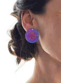 Purple with Pink Spots Studs Sterling Silver and Enamel Starfish Stud Earrings