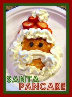 Santa Pancakes! christmas time, christmas morning breakfast, christmas eve, pancakes, mornings, whipped cream, christmas breakfast, kid, santa pancak