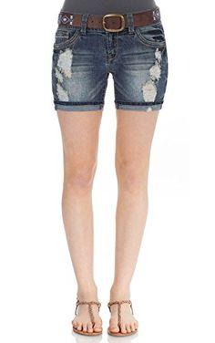 66cfda4a06 WallFlower Juniors Belted Mid Thigh Denim Shorts *** Be sure to check out  this