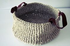 ★ crochet basket with leather handles ★