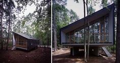 The Forest House, by Japanese architecture firm Tezuka Architect, reflects a shade of mystery as it floats in the forest
