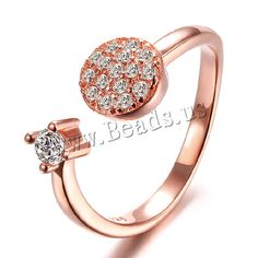Brass Cuff Finger Ring, rose gold color plated, with rhinestone, nickel, lead & cadmium free, 10mm, US Ring Size:5.5,china wholesale jewelry beads
