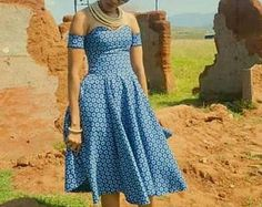 Recent Shweshwe in South Africa 2019 - Our Nail Sotho Traditional Dresses, African Traditional Dresses, African Inspired Clothing, African Print Fashion, African Prints, Ankara Fashion, African Wear Dresses, African Clothes, African Attire